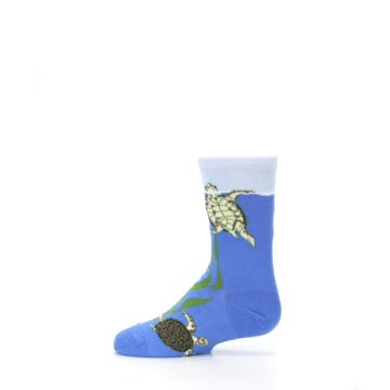 Image of Blue Turtles in Sea Kelp Kid's Dress Socks (side-2-12)