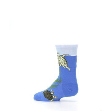 Image of Blue Turtles in Sea Kelp Kid's Dress Socks (side-2-13)