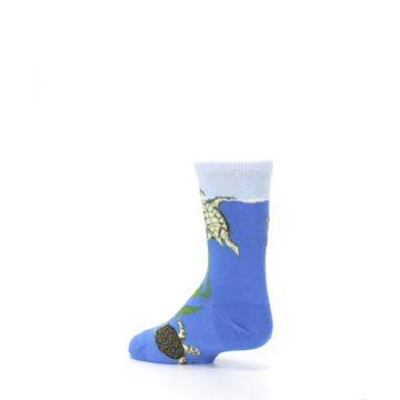 Image of Blue Turtles in Sea Kelp Kid's Dress Socks (side-2-back-14)