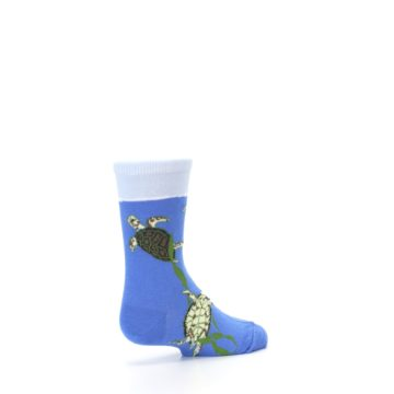 Image of Blue Turtles in Sea Kelp Kid's Dress Socks (side-1-back-22)