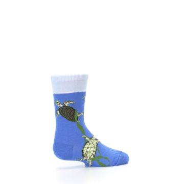Image of Blue Turtles in Sea Kelp Kid's Dress Socks (side-1-23)
