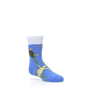 Image of Blue Turtles in Sea Kelp Kid's Dress Socks (side-1-26)