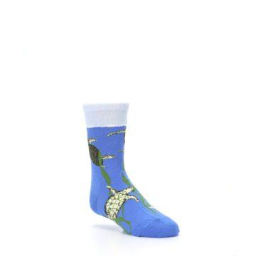 Image of Blue Turtles in Sea Kelp Kid's Dress Socks (side-1-27)
