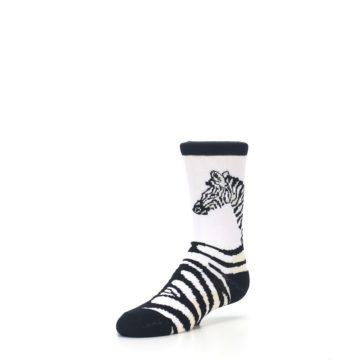 Image of White Black Zebra Kid's Dress Socks (side-2-front-08)