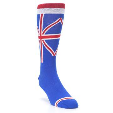 Image of Blue Red British Flag Men's Dress Socks (side-1-front-02)