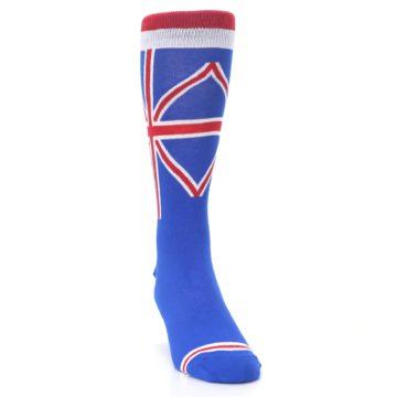 Image of Blue Red British Flag Men's Dress Socks (side-1-front-03)