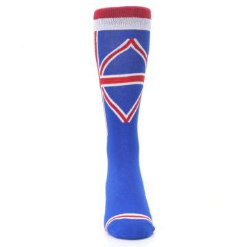Image of Blue Red British Flag Men's Dress Socks (front-04)