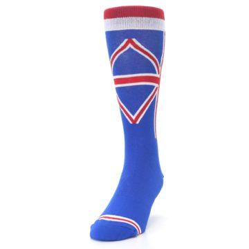 Image of Blue Red British Flag Men's Dress Socks (side-2-front-06)