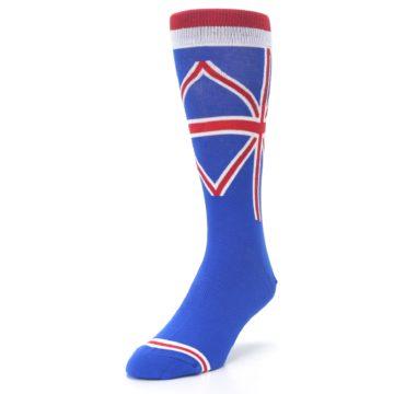 Image of Blue Red British Flag Men's Dress Socks (side-2-front-07)