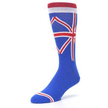 Image of Blue Red British Flag Men's Dress Socks (side-2-front-08)