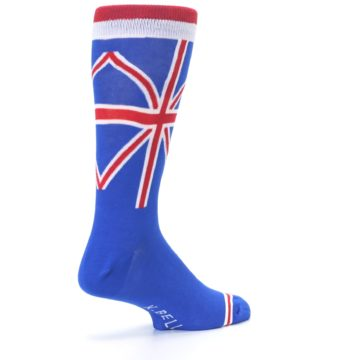 Image of Blue Red British Flag Men's Dress Socks (side-1-back-22)