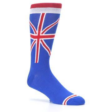 Image of Blue Red British Flag Men's Dress Socks (side-1-26)