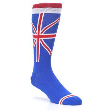 Image of Blue Red British Flag Men's Dress Socks (side-1-27)