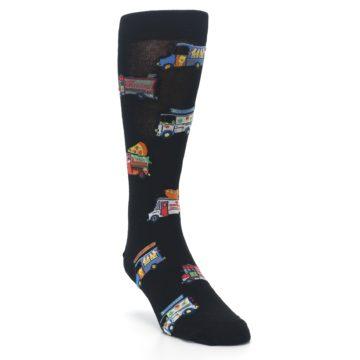 Image of Black Multi Food Trucks Men's Dress Socks (side-1-front-02)