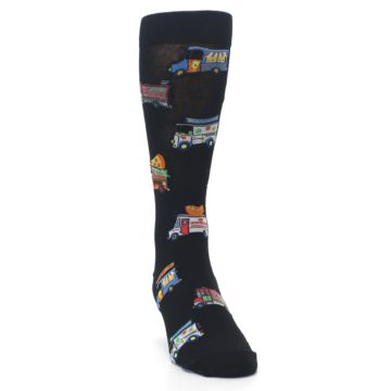 Image of Black Multi Food Trucks Men's Dress Socks (side-1-front-03)