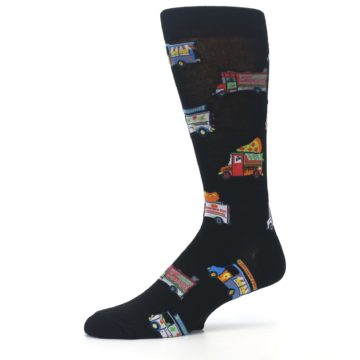 Image of Black Multi Food Trucks Men's Dress Socks (side-2-10)