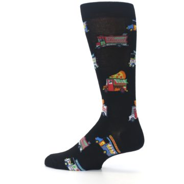 Image of Black Multi Food Trucks Men's Dress Socks (side-2-13)