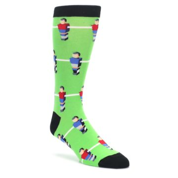 Image of Green Blue Red Foosball Players Men's Dress Socks (side-1-front-01)