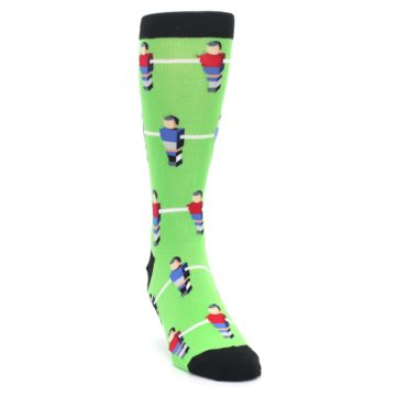Image of Green Blue Red Foosball Players Men's Dress Socks (side-1-front-03)
