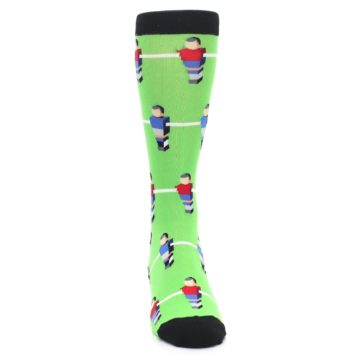 Image of Green Blue Red Foosball Players Men's Dress Socks (front-04)