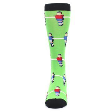 Image of Green Blue Red Foosball Players Men's Dress Socks (front-05)