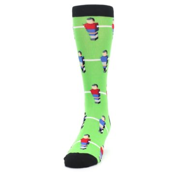 Image of Green Blue Red Foosball Players Men's Dress Socks (side-2-front-06)