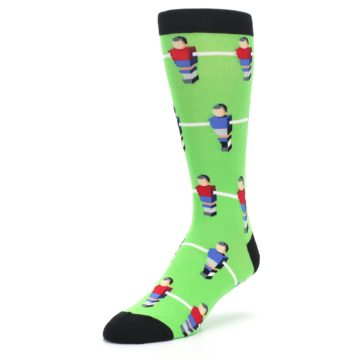 Image of Green Blue Red Foosball Players Men's Dress Socks (side-2-front-08)