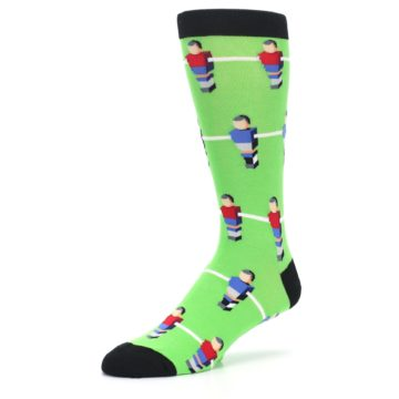Image of Green Blue Red Foosball Players Men's Dress Socks (side-2-09)