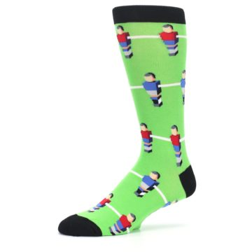 Image of Green Blue Red Foosball Players Men's Dress Socks (side-2-10)