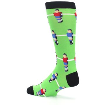 Image of Green Blue Red Foosball Players Men's Dress Socks (side-2-back-14)
