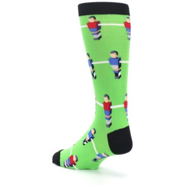 Image of Green Blue Red Foosball Players Men's Dress Socks (side-2-back-15)