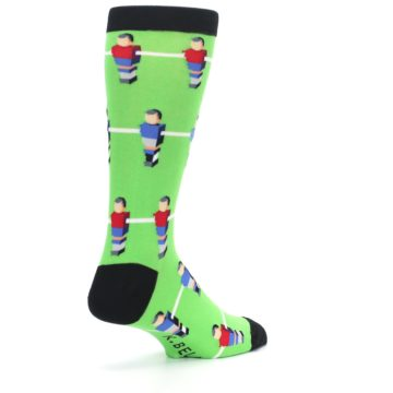 Image of Green Blue Red Foosball Players Men's Dress Socks (side-1-back-22)
