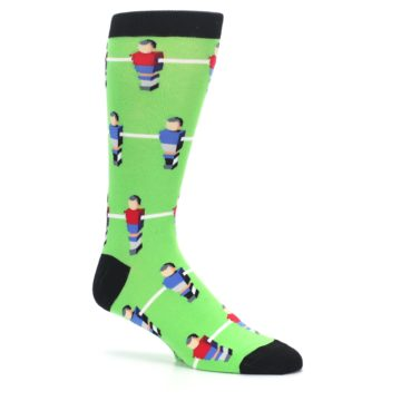 Image of Green Blue Red Foosball Players Men's Dress Socks (side-1-26)