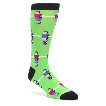 Image of Green Blue Red Foosball Players Men's Dress Socks (side-1-27)