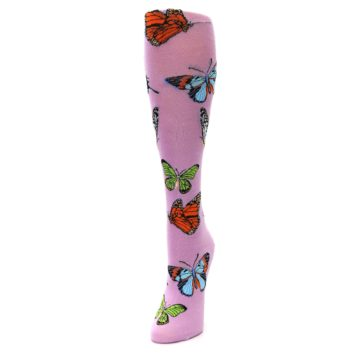 Image of Orchid Purple Butterflies Women's Knee High Socks (side-2-front-07)