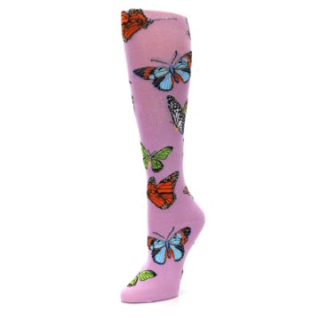 Image of Orchid Purple Butterflies Women's Knee High Socks (side-2-09)