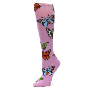 Image of Orchid Purple Butterflies Women's Knee High Socks (side-2-10)