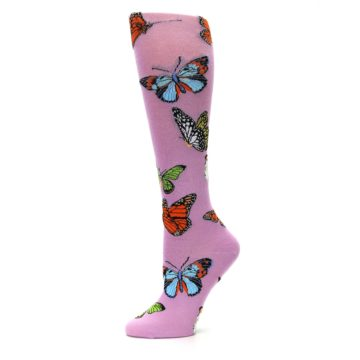 Image of Orchid Purple Butterflies Women's Knee High Socks (side-2-11)