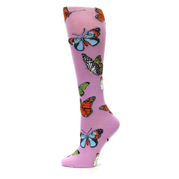 Image of Orchid Purple Butterflies Women's Knee High Socks (side-2-12)