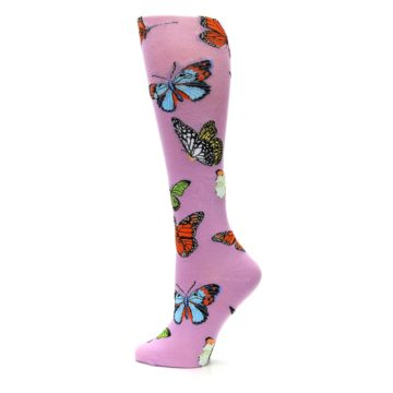 Image of Orchid Purple Butterflies Women's Knee High Socks (side-2-13)