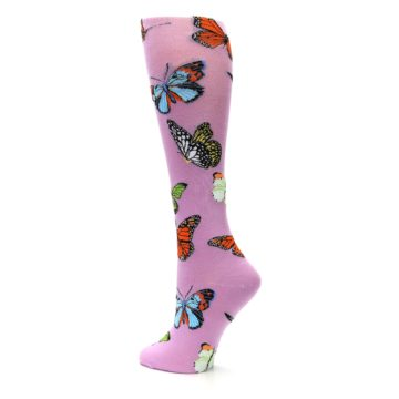 Image of Orchid Purple Butterflies Women's Knee High Socks (side-2-back-14)