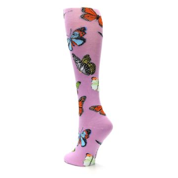 Image of Orchid Purple Butterflies Women's Knee High Socks (side-2-back-15)