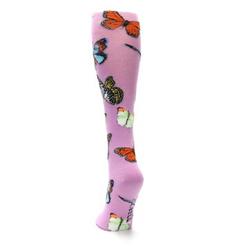 Image of Orchid Purple Butterflies Women's Knee High Socks (back-17)