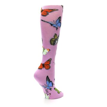 Image of Orchid Purple Butterflies Women's Knee High Socks (side-1-23)
