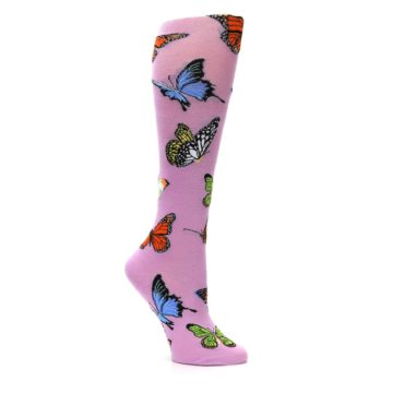 Image of Orchid Purple Butterflies Women's Knee High Socks (side-1-26)