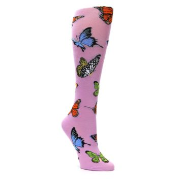 Image of Orchid Purple Butterflies Women's Knee High Socks (side-1-27)