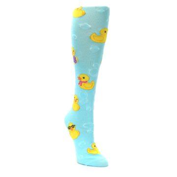 Image of Light Blue Rubber Ducks Women's Knee High Socks (side-1-front-02)