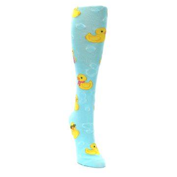 Image of Light Blue Rubber Ducks Women's Knee High Socks (side-1-front-03)