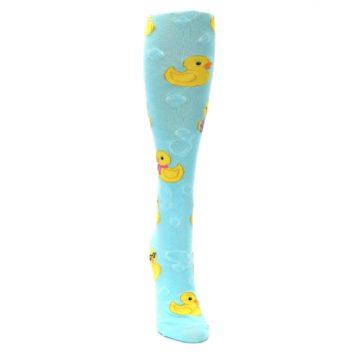 Image of Light Blue Rubber Ducks Women's Knee High Socks (front-04)