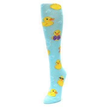 Image of Light Blue Rubber Ducks Women's Knee High Socks (side-2-front-08)